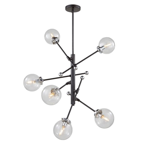 Chandelier à 6 lumières Vero Modo AC11436CL d'Artcraft Lighting, 28,75 po x 28 po, noir mat/chrome