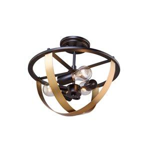 Semi-plafonnier Capri AC11233 d'Artcraft Lighting, 3 lumières, bronze foncé/laiton satiné