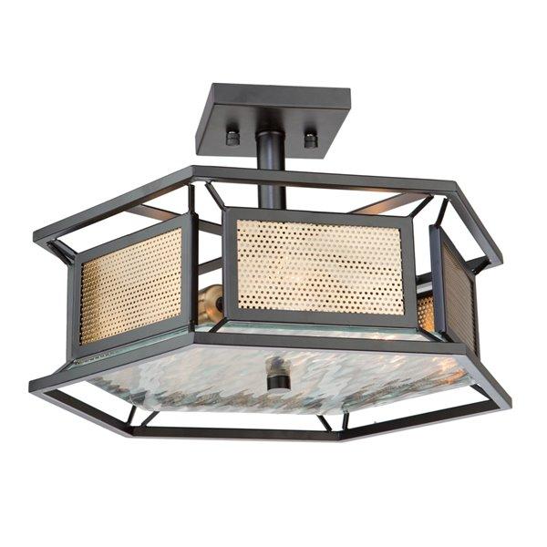 Artcraft Lighting Chadwick AC11193 Semi-Flush Mount Light - 3-Light - Dark Bronze/Satin Brass