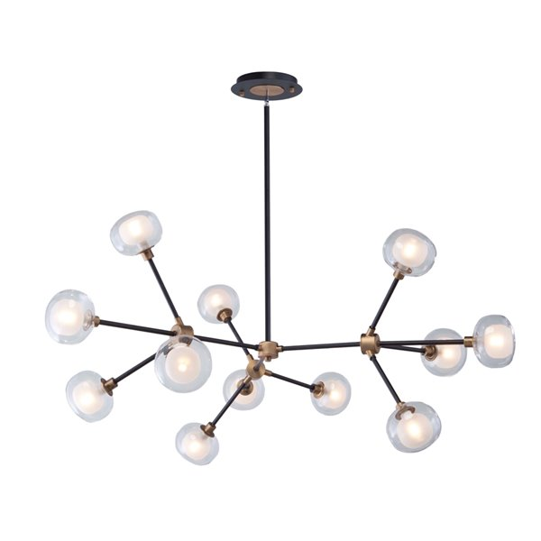 Artcraft Lighting Grappolo AC7002BG 12-Light Chandelier - 47.25-in x 24-in - Matte Black/Vintage Gold