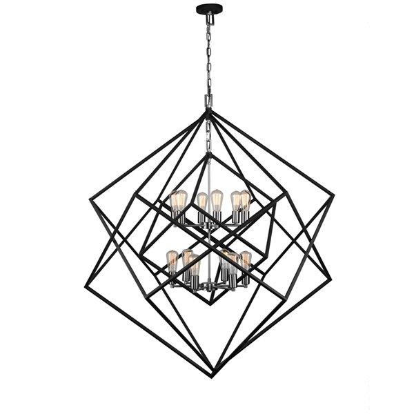 Artcraft Lighting Artistry AC11112PN 12-Light Chandelier - 47-in x 53-in - Polished Nickel/Matt Black