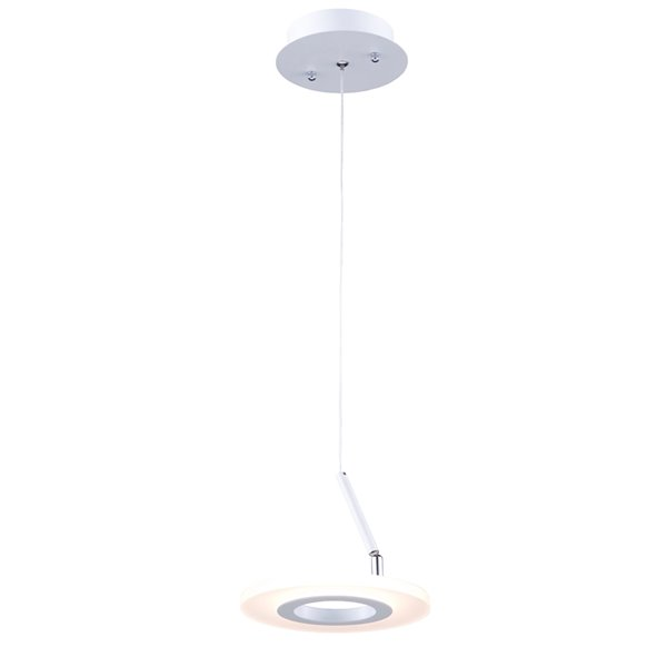 Luminaire suspendu à 1 lumière Phoenix AC7067 d'Artcraft Lighting, 8 po x 6 po, blanc