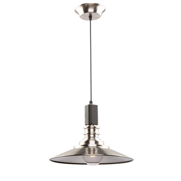 Artcraft Lighting Ambrose AC11041BN 1-Light Pendant - 12-in x 12-in - Dark Wood/Brushed Nickel