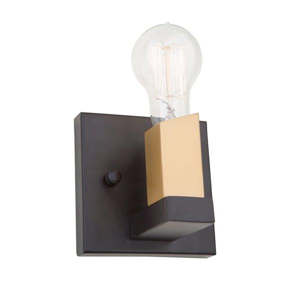 Artcraft Lighting Skyline AC11101 1-Bulb Wall Light - 4.75-in - Dark Bronze/Satin Brass