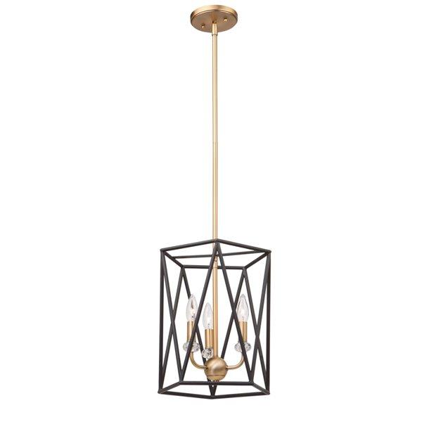 Artcraft Lighting Harmony AC11031 3-Light Chandelier - 14-in x 11-in - Black/Satin Brass
