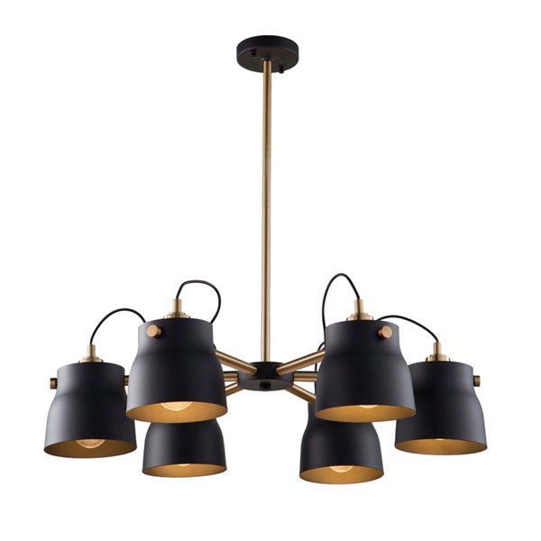Artcraft Lighting Euro Industrial  AC11366VB 6-Light Chandelier - 30.75-in x 7.75-in - Matte Black/Harvest Brass