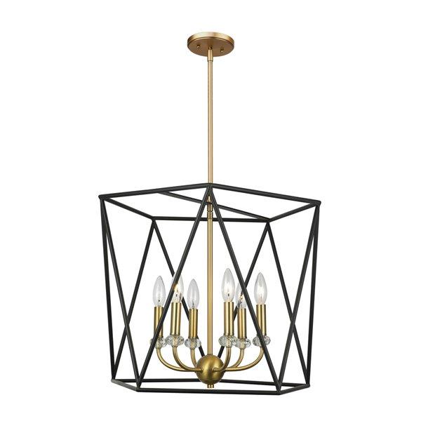 Artcraft Lighting Harmony AC11033 6-Light Chandelier - 20-in x 16.5-in - Black/Satin Brass