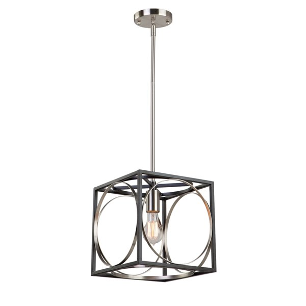 Artcraft Lighting Corona CL15090 1-Light Pendant - 10-in x 10-in - Black/Polished Nickel