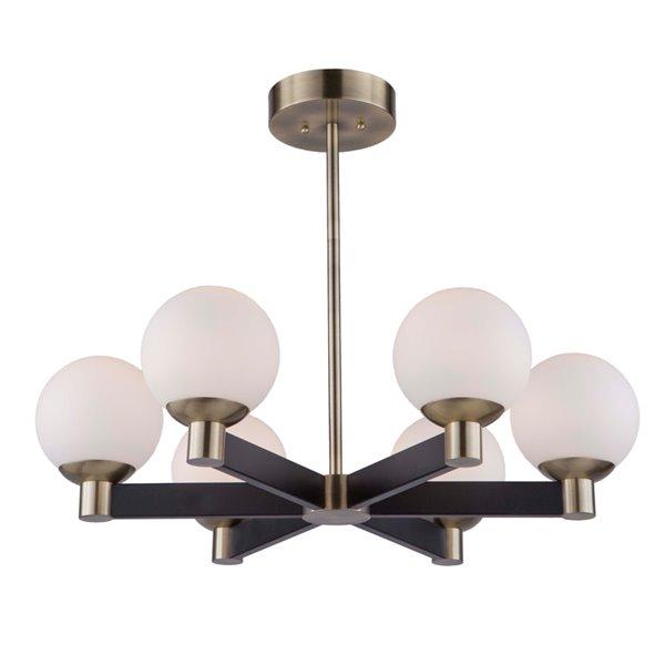 Chandelier à 6 lumières Tilbury AC7096VB d'Artcraft Lighting, 28 po x 7,5 po, noir mat/laiton