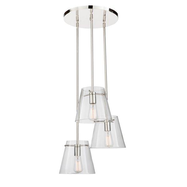 Artcraft Lighting Café SC13232 3-Light Chandelier - 16.25-in x 39.5-in - Chrome