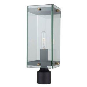 Luminaire extérieur pour poteau Bradgate AC8143BK d'Artcraft Lighting, 1 lumière, 22,25 po, noir mat/laiton