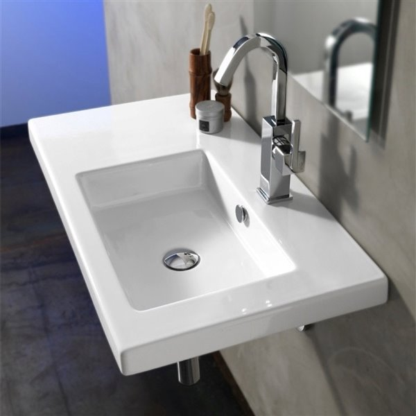 Nameeks Condal Wall Mounted Ceramic Bathroom Sink in White - Square - 31.5-in x 17.72-in