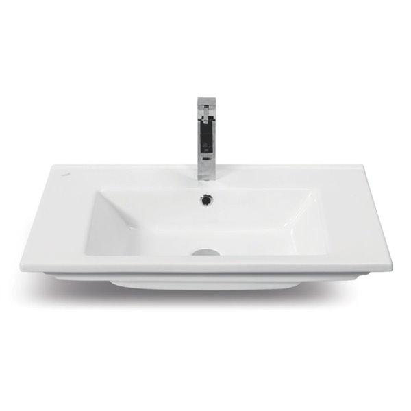 Nameeks Arte Wall Mounted Bathroom Sink in White - Rectangular - 33.5-in x 17.7-in