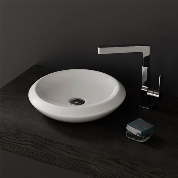Nameeks More Vessel Sink in White - Round - 16.34-in x 16.54-in