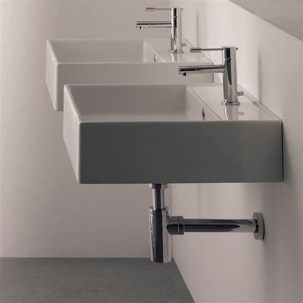 Nameeks Teorema Wall Mounted Sink In White - Square - 18.1-in x 18.1-in