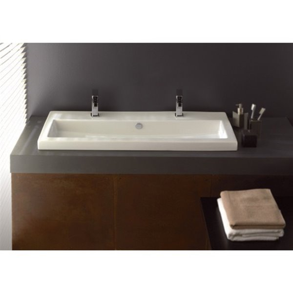 Nameeks Serie 40 Drop-In Ceramic Bathroom Sink - 39.4-in x 15.7-in