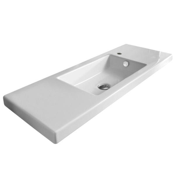 Nameeks Serie 35 Drop-In Ceramic Bathroom Sink - Square - 39.37-in x 13.78-in