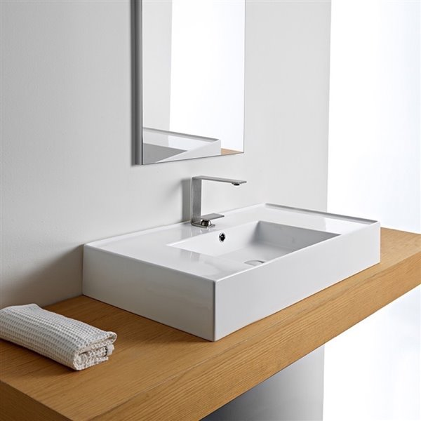 Nameeks Teorema Wall Mounted Sink In White - Rectangular - 17.4-in x 31.9-in