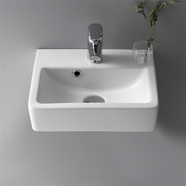 Nameeks Mini Wall Mounted Bathroom Sink in White - Rectangular - 14.76-in x 11.02-in