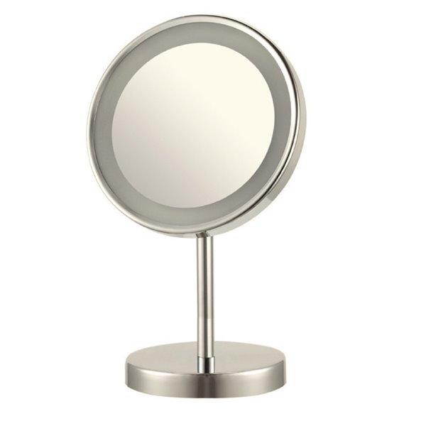 Nameeks Glimmer Free Standing Makeup Mirrors In Satin Nickel - 4-in x 8-in x 8-in