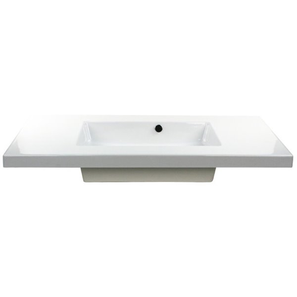 Nameeks Mars Wall Mounted Ceramic Bathroom Sink in White - Square - 41.34-in x 21.26-in