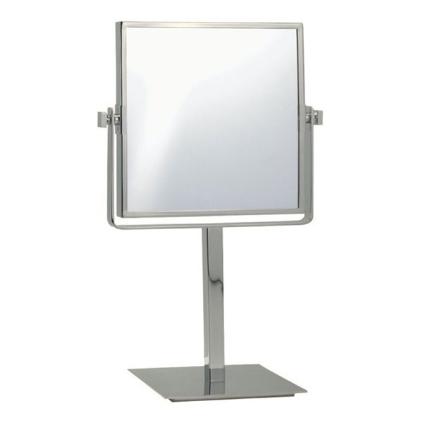 Nameeks Glimmer Free Standing Makeup Mirrors In Satin Nickel - 3.97-in x 8-in x 8-in