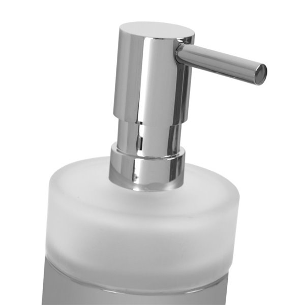 Nameeks Boutique Hotel Free Standing Soap Dispenser in Chrome - 14 oz - 7.1-in x 2.8-in