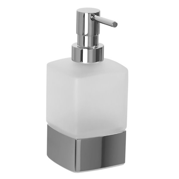 Nameeks Boutique Hotel Free Standing Soap Dispenser in Chrome - 14 oz - 6.2-in x 2.8-in