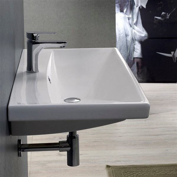 Nameeks Elite Wall Mounted Bathroom Sink in White - Rectangular - 23.62-in x 17.72-in