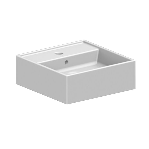 Nameeks Teorema Mounted Bathroom Sink In White - Square - 15.7-in x 15.7-in