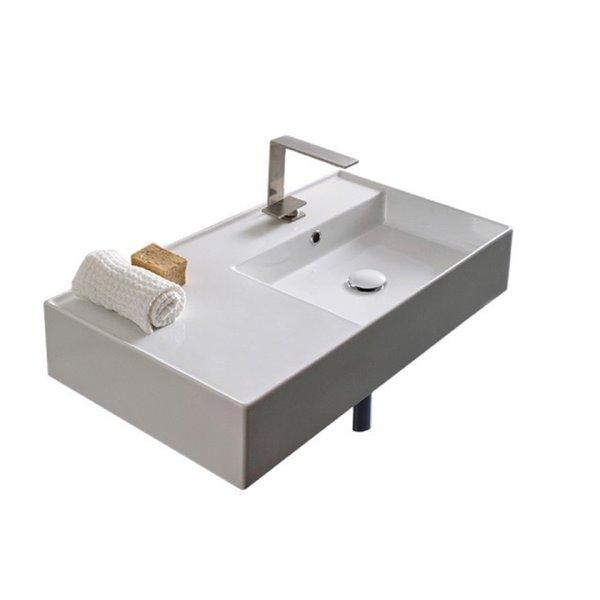 Nameeks Teorema Wall Mounted Sink In White - Rectangular - 17.3-in x 31.9-in