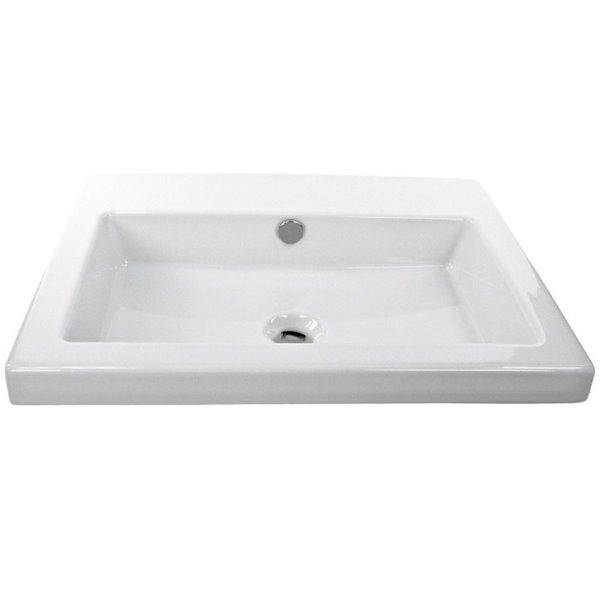 Nameeks Cangas Drop-In Ceramic Bathroom Sink in White - Square - 23.62-in x 17.72-in