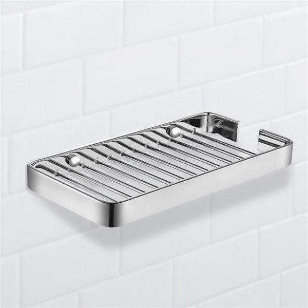 Nameeks General Hotel Wall Mounted Shower Basket in Chrome - 4-in x 1-in x 8-in