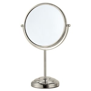 Nameeks Glimmer Free Standing Makeup Mirrors In Satin Nickel - 4-in x 8-in x 8-in