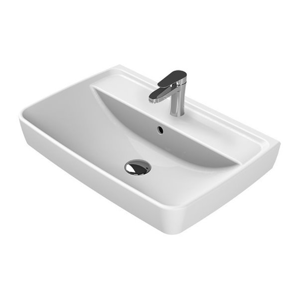 Nameeks Duru Wall Mounted Bathroom Sink In White Square 22 62 In X 16 In Rona