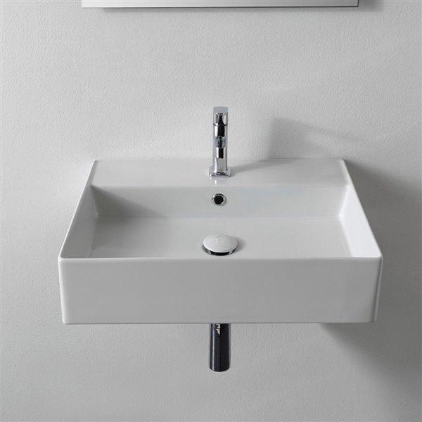 Nameeks Teorema Wall Mounted Sink In White - Rectangular - 15.2-in x 19.88-in