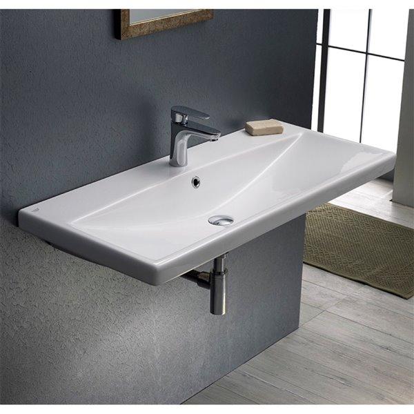 Nameeks Elite Wall Mounted Bathroom Sink in White - Rectangular - 31.5-in x 17.72-in