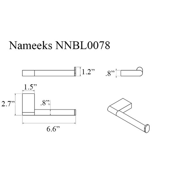 Nameeks Boutique Hotel Wall Mounted Toilet Paper Holder In Chrome - 2.7-in x 0.8-in x 6.6-in