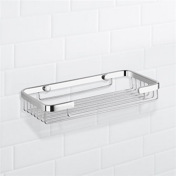 Nameeks General Hotel Wall Mounted Shower Basket in Chrome - 5-in x 1-in x 9-in