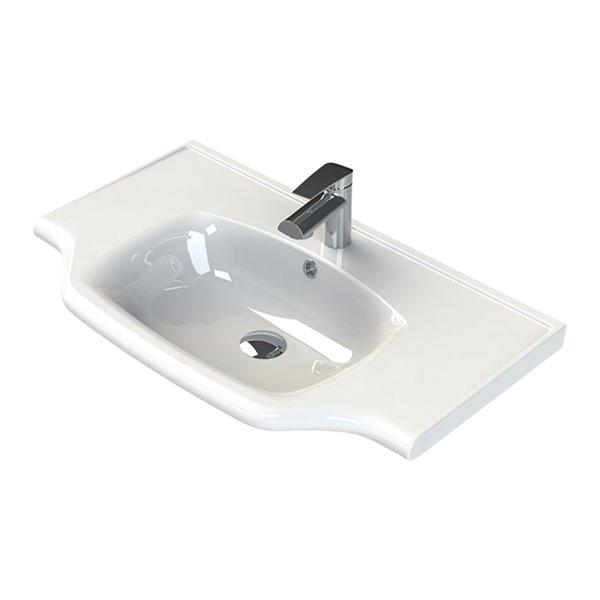 Nameeks Yeni Klasik Wall Mounted Bathroom Sink in White - Round- 31.6-in x 18.8-in