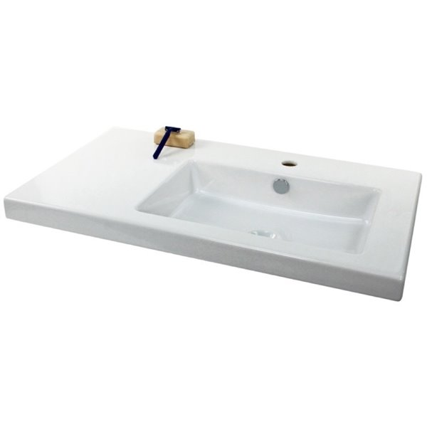 Nameeks Condal Wall Mounted Ceramic Bathroom Sink in White - Square - 39.37-in x 17.72-in