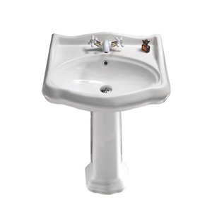 Nameeks Traditional Pedestal Sink in White - 34.9-in x 23.7-in x 21.3-in