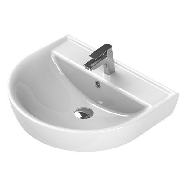 Nameeks Bella Wall Mounted Bathroom Sink in White - Round - 17.71-in x 13.78-in