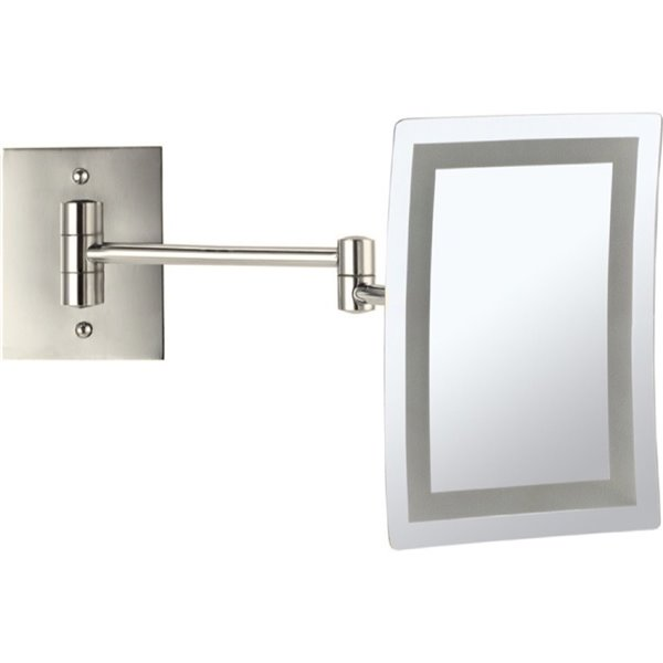 Nameeks Glimmer Wall Mounted Makeup Mirrors In Satin Nickel - 4.5-in x 8.7-in x 6.3-in
