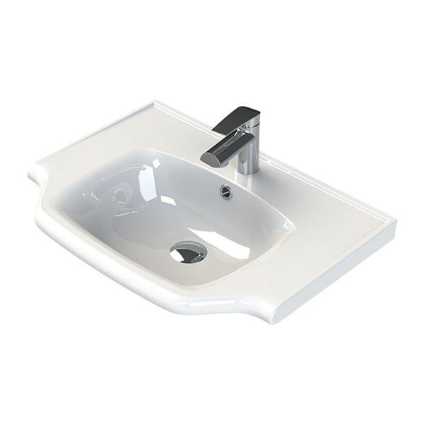 Nameeks Yeni Klasik Wall Mounted Bathroom Sink in White - Rectangular - 25.6-in x 18.8-in