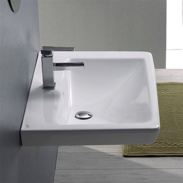 Nameeks Porto Wall Mounted Bathroom Sink in White - Rectangular - 21.85-in x 14.96-in