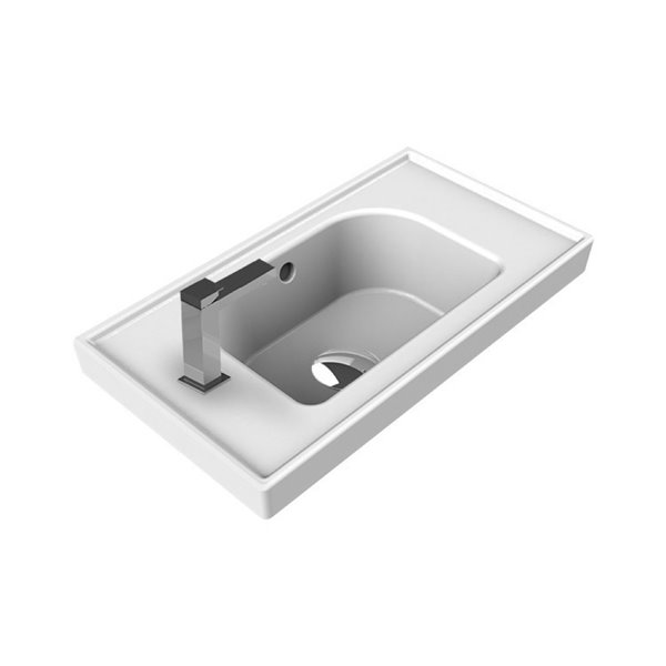 Nameeks Frame Wall Mounted Bathroom Sink in White - Rectangular - 16.86-in x 11.02-in