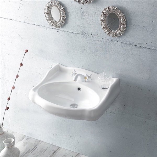 Nameeks Traditional Wall Mounted Bathroom Sink in White - Round - 23.7-in x 21.3-in