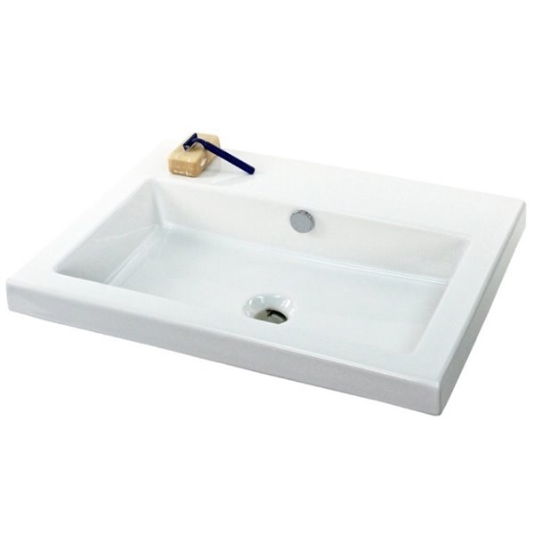 Nameeks Cangas Ceramic Console Bathroom Sink with Chrome Stand - 23.6-in x 17.72-in