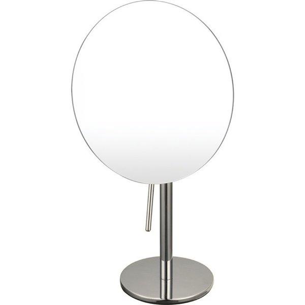 Nameeks Glimmer Free Standing Makeup Mirrors In Satin Nickel - 3.9-in x 8-in x 8-in